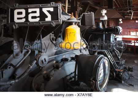 USA, Pennsylvania, Scranton,  Steamtown National Historic Site, steam-era locomotive - Stock Photo