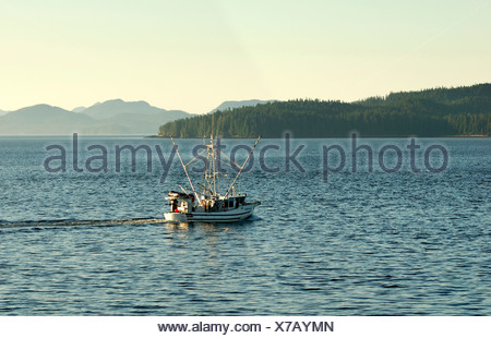 Fishing boat in the Inside Passage, British Columbia, Canada, North America - Stock Photo