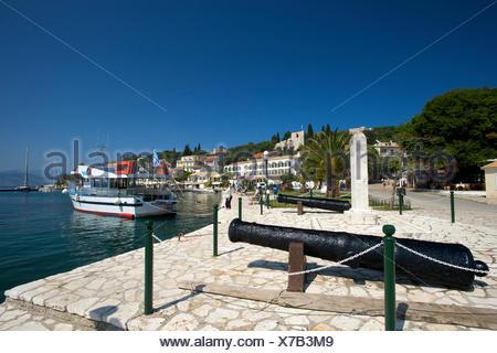 Harbour of Kassiopi, Corfu, Ionian Islands, Greece, Europe - Stock Photo