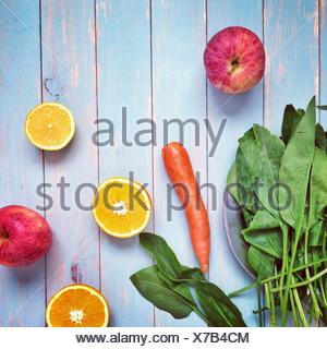 Arrangement of various fruits and vegetables - Stock Photo