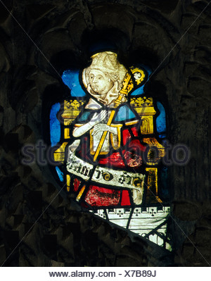 Wiggenhall St. Mary Magdalene, Norfolk, St. Germanus, Bishop of Auxerre, d. 448 English medieval stained glass window windows - Stock Photo