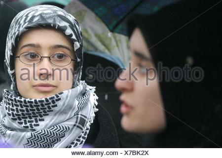Headscarf demonstration in Berlin. - Stock Photo
