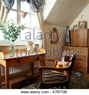 ... Pine Wash Stand And Old Chair With Upholstered Leopard Print Seat Below  Window In Small