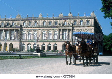 Horsedrawn carriage in front of castle, Herrenchiemsee Castle, Herreninsel, Bavaria, Germany - Stock Photo