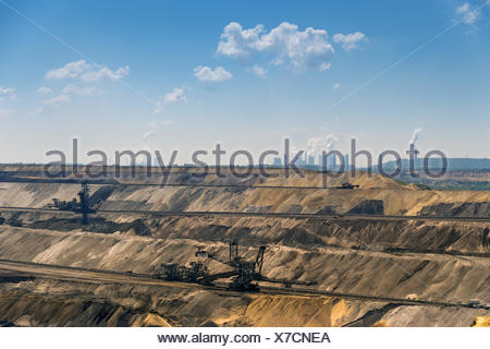 Garzweiler mine and the power plants Frimmersdorf - Stock Photo