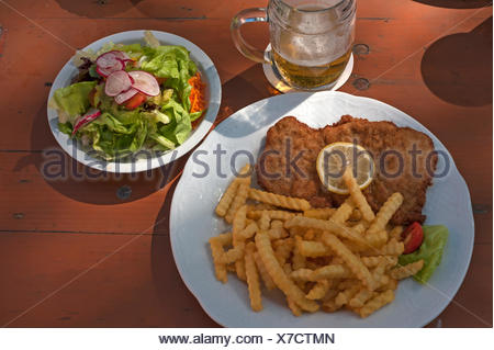 Schnitzel with french fries, Lower Franconia, Germany - Stock Photo