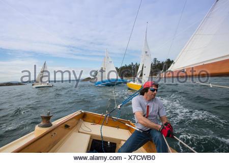 Sailboat racing, Vancouver Island, British Columbia, Canada - Stock Photo