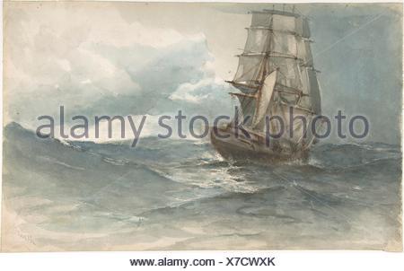 Ship at Sea. Artist: Albert Ernest Markes (British, 1865-1901 Newquay); Date: late 19th century; Medium: Watercolor; Dimensions: sheet: 10 3/8 x 16 - Stock Photo
