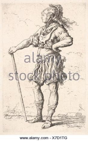 A warrior facing right wearing a plumed helmet and holding a staff, from the series ´Figurine´. Artist: Salvator Rosa (Italian, Arenella (Naples) - Stock Photo