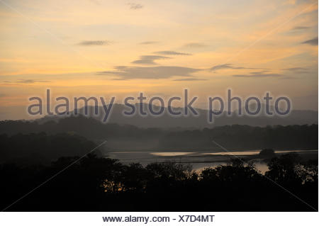 Sunrise View over Jungle Canopy & Gatun Lake, Panama, Central America, Gamboa Reserve, Parque Nacional Soberania, sunbeams through clouds - Stock Photo