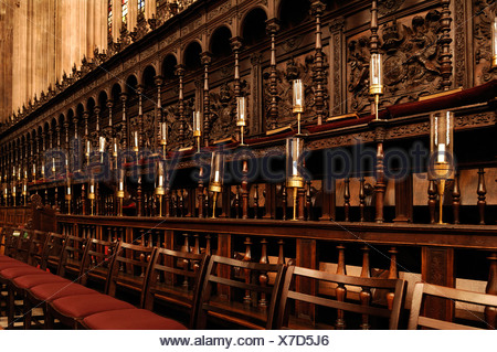 Choir stalls with organ of the 'King's College Chapel', founded in 1441 by King Henry VI., King's Parade, Cambridge, Cambridges - Stock Photo