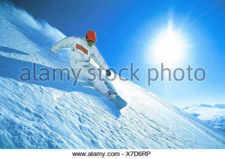 Abisko activity blue catalogue 2 clear sky color image downhill skiing horizontal Lapland leisure lifestyle loose snow movement - Stock Photo