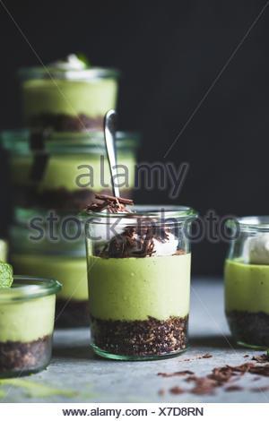 no-bake matcha mint grasshopper pies in jars - Stock Photo