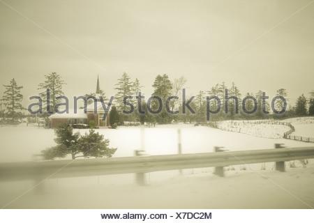 Church in the snow, Astoria, Oregon, USA - Stock Photo