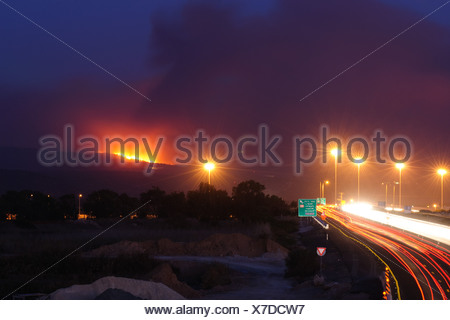 40 people killed on bus as huge forest fire rages on the Carmel Mountain South of Haifa - Stock Photo