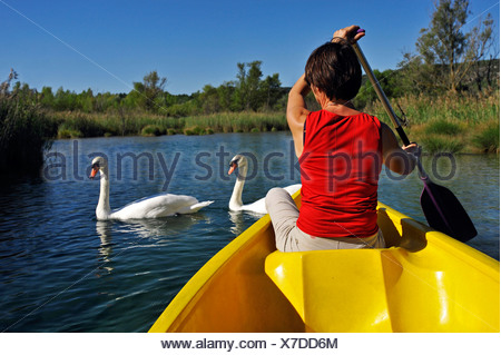 canoeing in Quinson lake in Verdon natural park, France, Provence, Verdon - Stock Photo