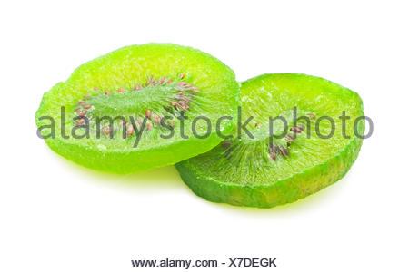 Fresh dried kiwi isolated on white background - Stock Photo