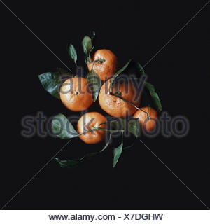 Overhead view of fresh tangerines with leaves - Stock Photo
