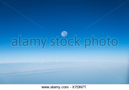 Full moon in a blue sky. - Stock Photo