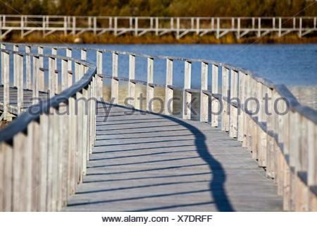 The boardwalk around Old Day's Pond in the historic port of Bonavista. - Stock Photo