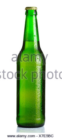 Green bottle of beer with drops on white - Stock Photo