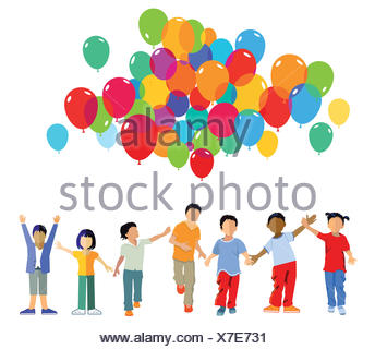 funny kids group with balloons - Stock Photo