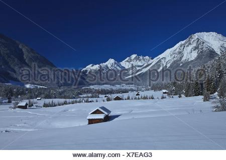 Austria, Europe, Tyrol, Gurgltal, Nassereith, winter, Stadel, snow, wood, forest, winter, vacation, winter vacation, rest, silen - Stock Photo
