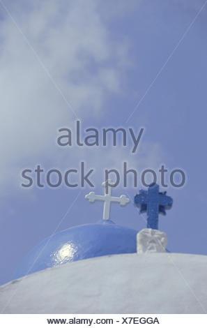 Greece, Santorin, Oia, church dome, detail, crosses, Still life, Cyclades islands, island, the Cyclades, Thera, Thira, Santorini, church, dome, cross, white, blue, close up, faith, religion - Stock Photo