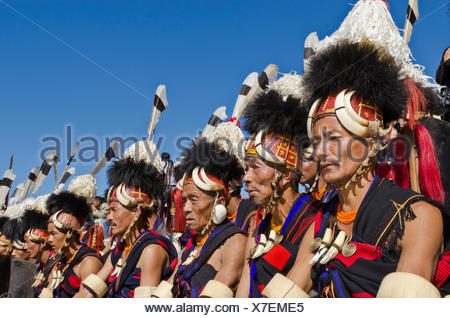 Konyak warriors fully decorated at Hornbill Festival, Kohima, India, Asia - Stock Photo
