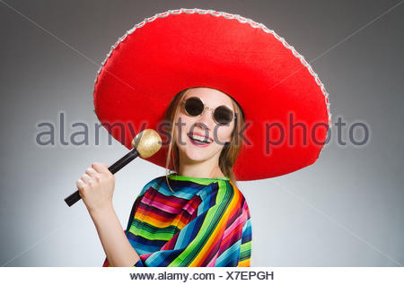 Mexico Poncho Sombrero Maracas Background Fiesta Cinco De