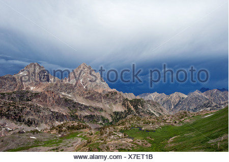 Grand and Middle Teton, Schoolroom Glacier and Lake from Hurricane Pass, Grand Teton National Park, Wyoming, USA - Stock Photo