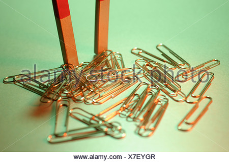 Magnet with paper clips - Stock Photo