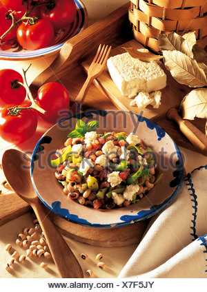 Bean and vegetable salad with feta, Greece, recipe available for a fee - Stock Photo