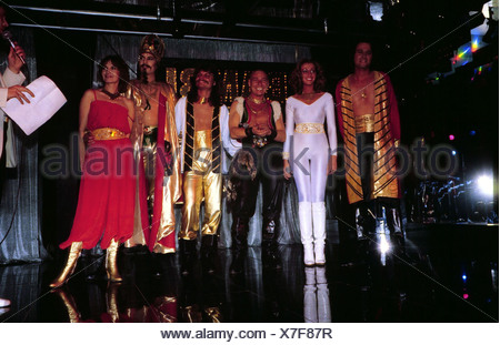 Genghis Khan (Dschinghis Khan), German pop group, group picture, on stage, wearing costumes, early 1980s, Leslie Mandoki, Henrie - Stock Photo