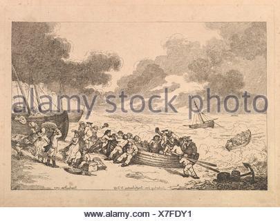 Embarking from Brighthelmstone to Dieppe. Series/Portfolio: Imitations of Modern Drawings; Artist: Thomas Rowlandson (British, London 1757-1827 - Stock Photo