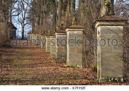 Way of the Cross with thirteen stations under an avenue of Large-leaved Lime trees (Tilia platyphyllos), Kirchröttenbach - Stock Photo