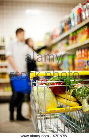 Shopping trolley Debica, Poland - Stock Photo