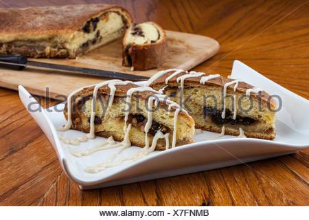 Iced raisin nut bread - Stock Photo