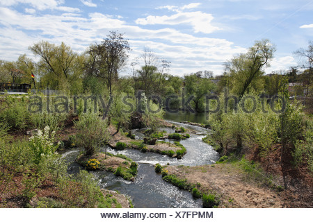 Fish pass, Bavarian horticultural show 2012 in Bamberg, Upper Franconia, Franconia, Bavaria, Germany, Europe - Stock Photo
