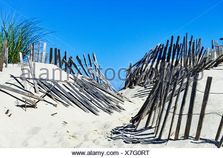 Weathered wind fence along a beach path helps fight wind drift and dune erosion, Truro, Cape Cod, Massachusetts, USA - Stock Photo
