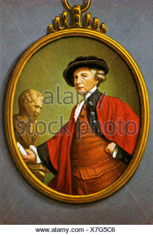 Reynolds, Sir Joshua, 16.7.1723 - 23.2.1792, British artist (painter), half length, miniature by W. H. Craft based on self-portrait by Reynolds 1786, Additional-Rights-Clearances-NA - Stock Photo