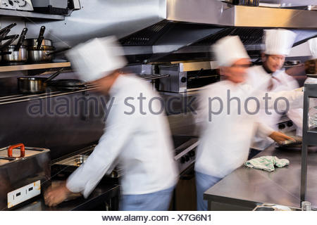 Team of chefs preparing food in the kitchen - Stock Photo