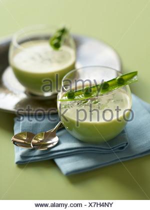 Peas and Savory Soup - Stock Photo