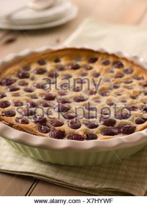 Black Cherry Clafoutis - Stock Photo