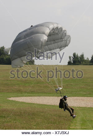 Paratrooper just before landing with a paraglider beside the target, 13th International Paratrooper Competition of the Special - Stock Photo