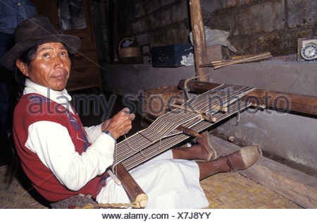 indian man weaving - Stock Photo