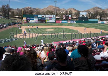 Class A California League baseball, Lake Elsinore Storm, 10, vs Rancho Cucamonga Quakes, 2, at Diamond Stadium. - Stock Photo