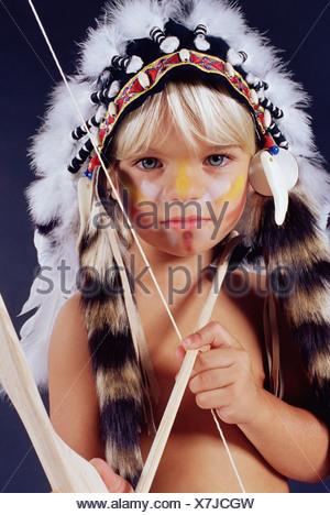 Boy in native american costume - Stock Photo