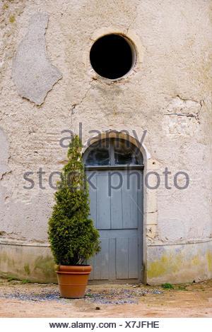 More poorly, old, input door, cypress, - Stock Photo