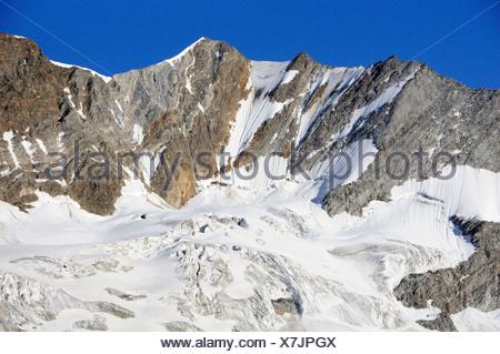 Mount Hochfeiler with north face, Zillertal Alps, Zillertal, Tyrol, Austria - Stock Photo